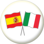Spain and Italy Friendship Flag 25mm Pin Button Badge